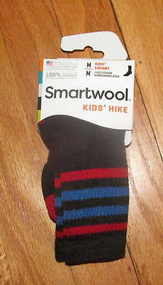Smartwool Kids Boys Girls Charcoal Black Stripe Hike L Crew Socks S, M NWT