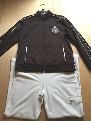 Polo Ralph Lauren Zippered Track Jacket & Bottom BROWN-IVORY Size Large