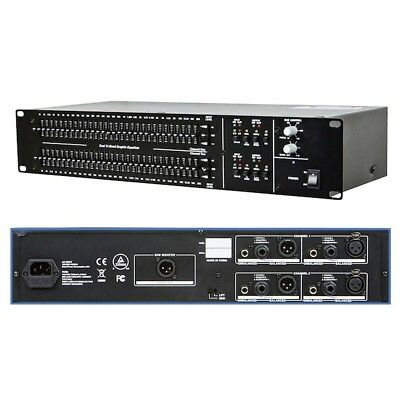 "Dual 31 Band Graphic Equalizer EQ Sub Out Balanced XLR 1/4"" TRS RCA Rack-Mount"