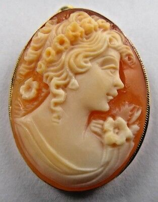 """Vintage 14k Yellow Gold Shell Cameo Pin Brooch Pendant 1.25"""" 4.1 gr"""