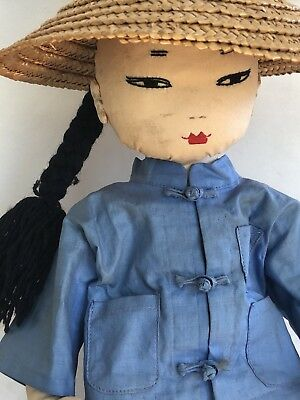 """Vintage Antique Chinese Handmade Mao Doll Original 1940's - Stands 14"""""""