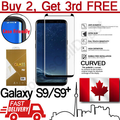 Case Friendly Samsung Galaxy S9 S9+ Curved Tempered Glass Screen Protector