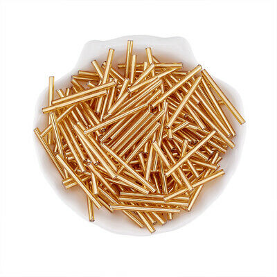 50g Glass Bugle Beads Seed Beads Tubes for DIY Jewelry Golden 3mm wide