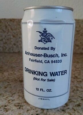 ANHEUSER-BUSCH DRINKING WATER 12oz can Fairfield, CA. from Fire Siege of 1987