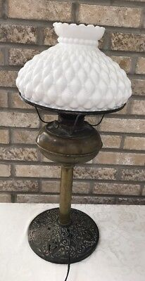 Antique Vintage Aladdin Rayo Electrified Oil Brass Lamp Diamond Quilted Shade