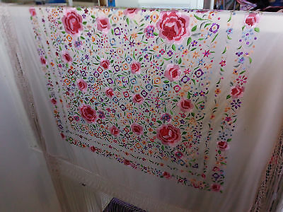 Antique Large Silk Embroidered Piano Shawl