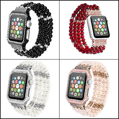 iWatch 3/2/1 38mm/42mm For Apple Watch Bling Pearl Beads Strap Bracelet Band New