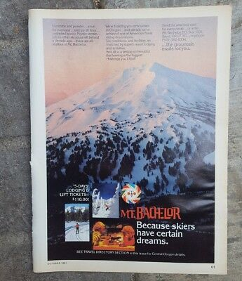 1981 print ad-skiing Mt. Bachelor, Oregon-Because Skiers have Certain  Dreams