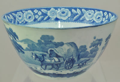 Antique Pearlware Blue Staffordshire Transfer Covered Wagon 6 Inch Bowl 1825