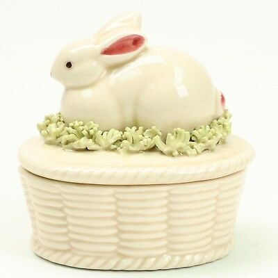Fitz Floyd 1982 Porcelain Basket with Bunny Lid Jewelry Ring Treasure Box