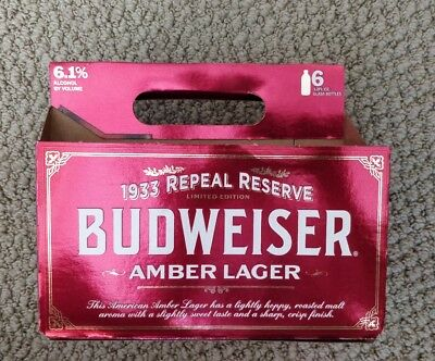 BUDWEISER BEER BOTTLE 1933 repeal reserve amber ale limited carrier carton