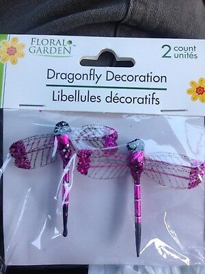 "Pkg of (2)  2"" Dragonfly 3D Decoration Figure Figurine - Hot  Pink"