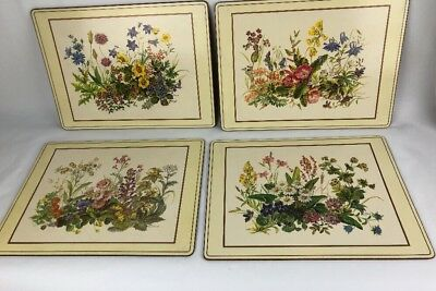 SET 4 Pimpernel Pristine ENGLAND Cork Bottom Place Mats MEADOW FLOWERS