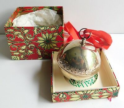 Vintage Wallace 1978 Silver Plated Jingle Bell Etched Rose Annual Edition w/Box
