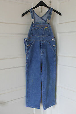 Old Navy Boy Girl Jean Denim Blue Overalls Bib Size 6/7 Button Fly Kids