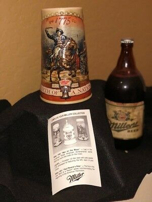 "Miller Beer ""Birth Of A Nation"" Collectable Stein, First in a Series, 1991"