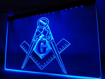 "Masonic Mason Freemason Led Sign 12"" x 8"" On/Off Switch mancave bar pub"