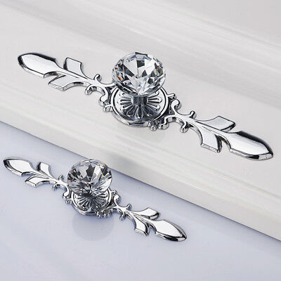 Glass Diamond Crystal Knobs Drawer Wardrobe Pull Handle Bar Cabinet Door Pulls