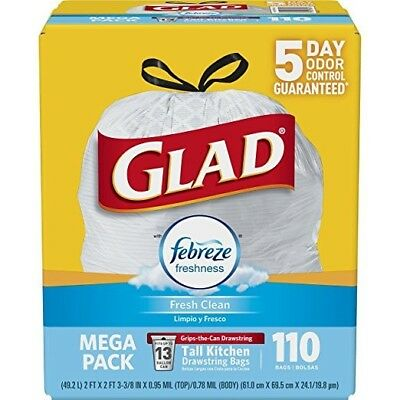 Glad Odorshield Garbage Bag 110 Fresh Clean Scented Febreeze Large Kitchen Trash