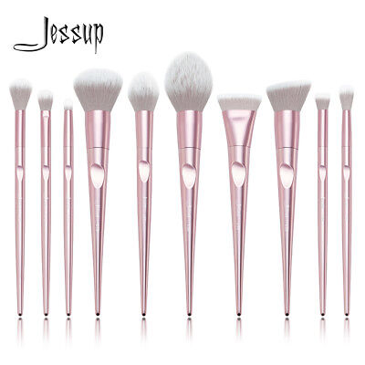 New Jessup Brushes Set Tapered Handle Pencil Blending Powder Blush Contour Pink