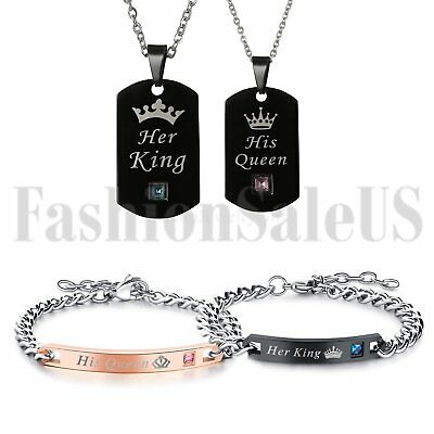4pc Stainless Steel His Queen Her King Couple Tag Necklace Matching Bracelet Set
