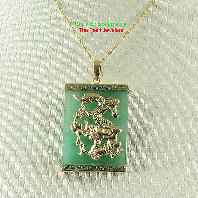 14k Solid Yellow Gold Hand Crafted Dragon 22x30mm Board Green Jade Pendant TPJ