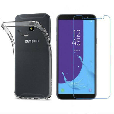 Tempered Glass Screen Protector Clear Film & Case For Samsung Galaxy J6 J8 2018