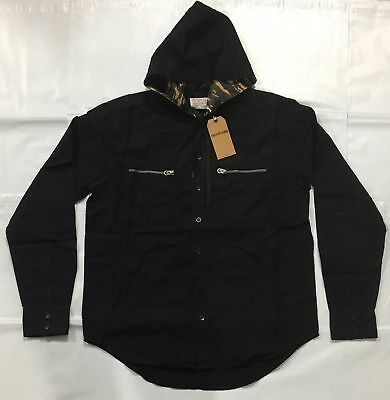 True Religion Button Down Black Shirt With Hood for Men NEW