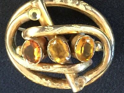 Antique  Victorian  Engraved  9K Gilt & Topaz  Stone Brooch,  Large