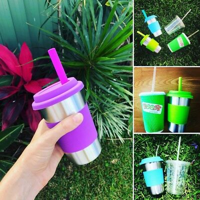 Eco Friendly Stainless Steel Reusable Smoothie/Juice Cup - with Straw kit