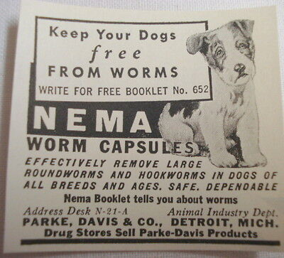 Advertisement From 1938 Nema Worm Capsules Park, Davis