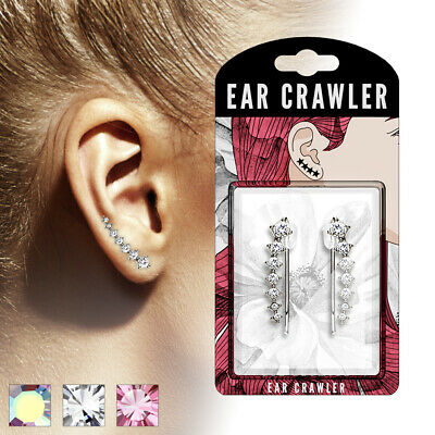 EAR-CRAWLER Brass Rhodium-plated in Silver, Gold, rose gold inset with Crystals