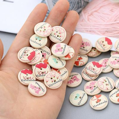 50PCS Vintage Handmade Clothings Round Shape Scrapbooking Sewing Buttons Wooden
