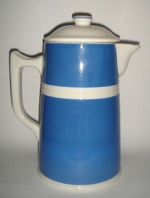 R Fowler Ltd Blue & White Coffee Pot with Lid Pottery Fowlerware RD 9704 c.1930