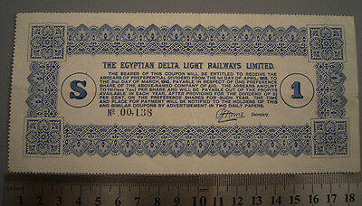 Egyptian Delta Light Railways 1$ Coupon  1915