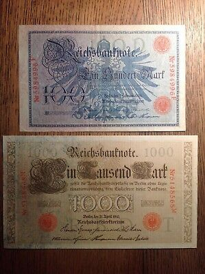 BANKNOTES GERMANY REICH, 100 and 1000 MARKS 1908-1910