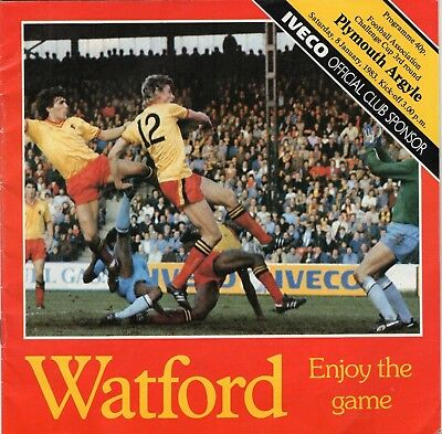 Watford V Plymouth Argyle Fa Cup 3rd round Programme 1982-83