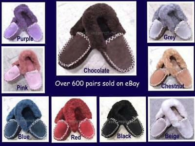 100% Sheepskin Moccasin Slippers Unisex Warm Winter Comfy Soft Outdoor Indoor