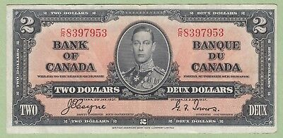 1937 Bank of Canada 2 Dollar Note - Coyne/Tower - C/R8397953 - VF