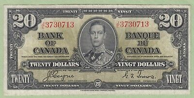 1937 Bank of Canada 20 Dollar Note - Coyne/Tower - J/E3730713 - VF