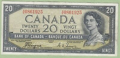 1954 Bank of Canada 20 Dollar Note Devil's Face - Coyne/Towers - A/E0861925 - VF