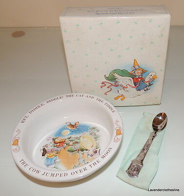 Avon 1984 Baby's Keepsake Hey Diddle Diddle Spoon & Bowl Set