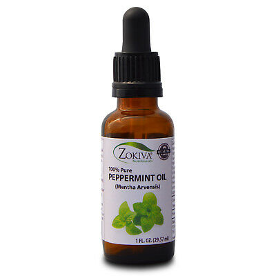 Peppermint Essential Oil - 100% Pure, In Amber Glass Bottle With Dropper  1 oz