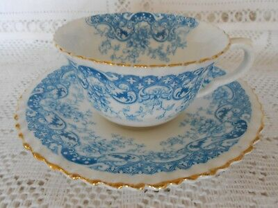 Vintage Crown Staffordshire China Cabinet Duo Blue White Gold Gilt