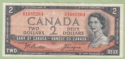 1954 Bank of Canada 2 Dollar Note Devil's Face - Beattie/Coyne - T/B1685264 - VF