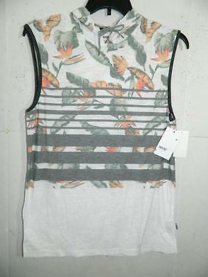 183c4c5c734f3 Univibe Men s White Floral Tropical Striped Hooded Tank Top NWT Size L A3637