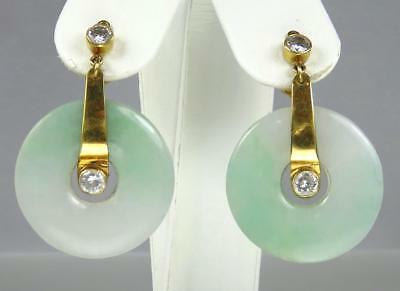 Lovely Antique Chinese Art Deco 18K Gold Jade Crystal Drop Dangle Post Earrings