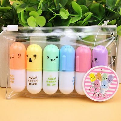 6Pcs Pastel Mini Pill Shaped Highlighter Pens Smile Face Graffiti Marker Pen