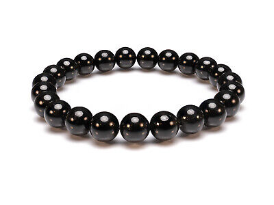 Black Spinel Natural Gemstone Bracelet 6-9'' Elasticated Healing Stone Chakra