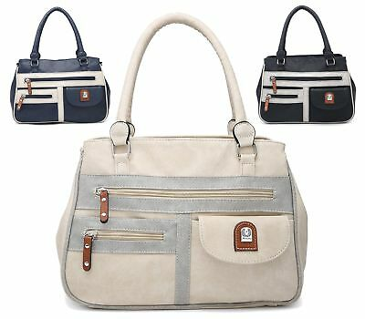 Womens Soft Faux Leather Grab Handle Tote Holdall Everyday Casual Shoulder Bag